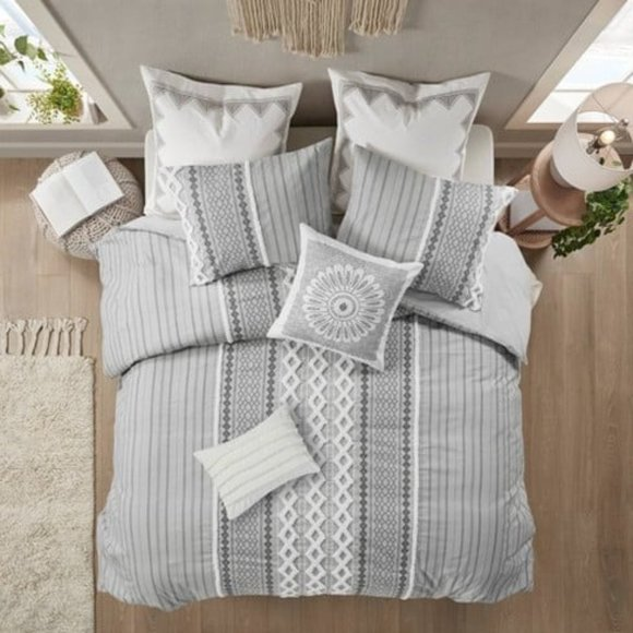 Ink & Ivy Cotton Gray Full/Queen 3pc Comforter Set
